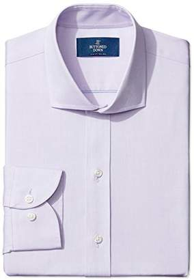 Buttoned Down Amazon Brand Men's Slim Fit Cutaway-Collar Solid Pinpoint Dress Shirt