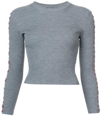 Alexander McQueen lace detail cropped sweater