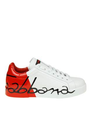 Dolce & Gabbana Leather Sneakers With Logo Color White And Red