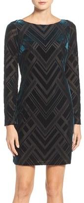 Women's Vince Camuto Burnout Velvet Sheath Dress $138 thestylecure.com
