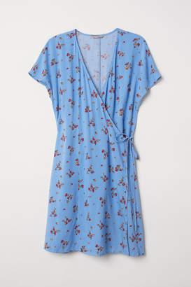 H&M H&M+ Patterned Wrap Dress - Blue