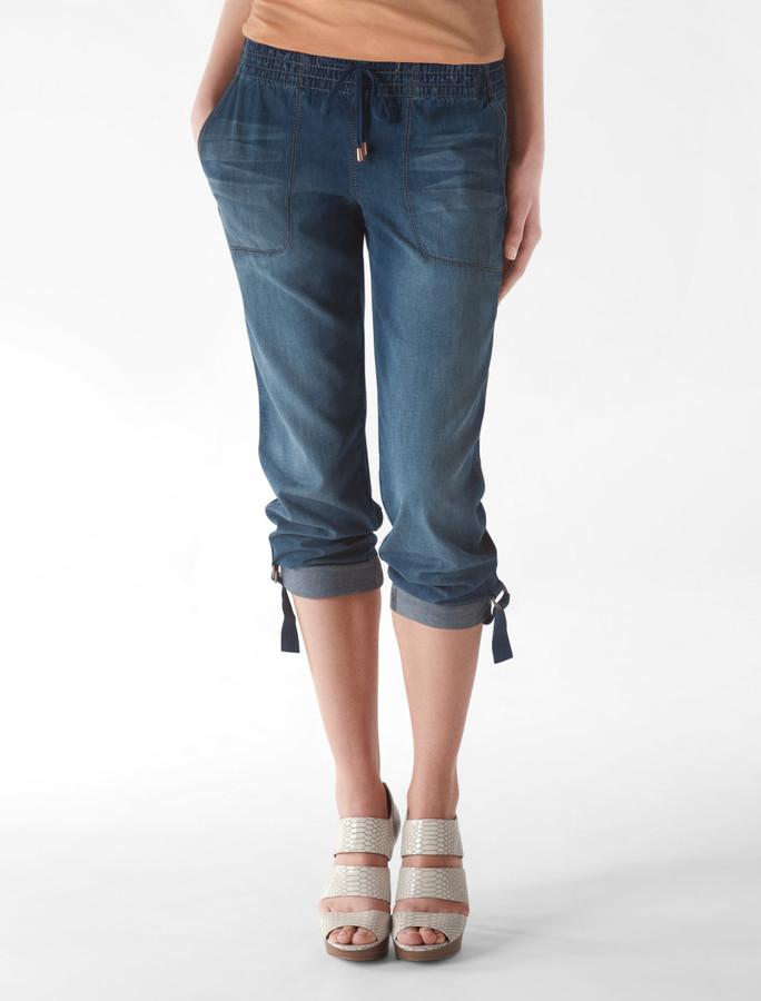 Smocked Waist Cargo Jeans