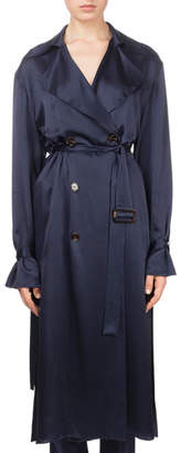 Magda Butrym Punta Cana Double-Breasted Belted Silk Trench Coat