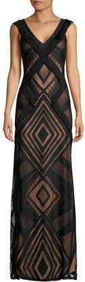BCBGMAXAZRIA Fringe-Trimmed Geometric Gown