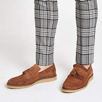 River Island Tan suede fringe loafers