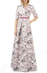 Kay Unger Flower Jacquard Gown
