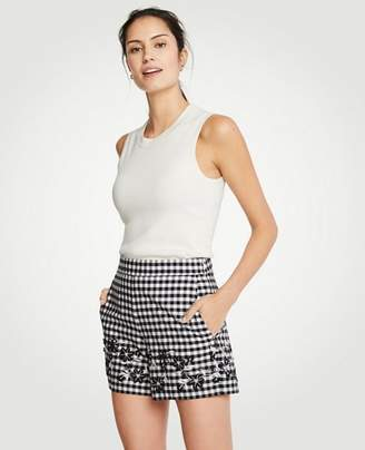 Ann Taylor Petite Gingham Embroidered Shorts