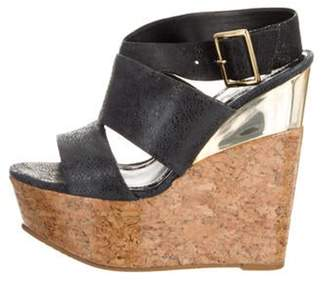 Alice + Olivia Leather Platform Wedges Black Leather Platform Wedges