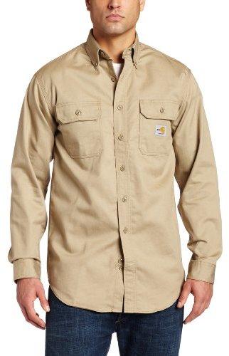 Carhartt Men's Flame Resistant Classic Twill Shirt,Khaki,X-Large