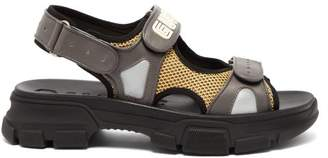 Gucci Aguru Leather And Mesh Sandals - Mens - Grey