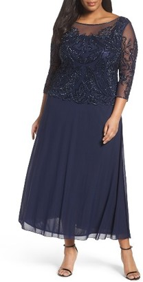 Plus Size Women's Pisarro Nights Illusion Neck Beaded A-Line Gown $238 thestylecure.com