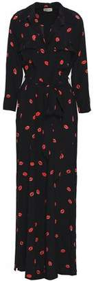 L'Agence Cameron Printed Silk Maxi Shirt Dress