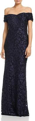 Laundry by Shelli Segal Off-the-Shoulder Scroll Lace Gown - 100% Exclusive