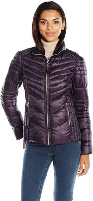 GUESS Women's Polyfill Printed Reversible Packable Puffer