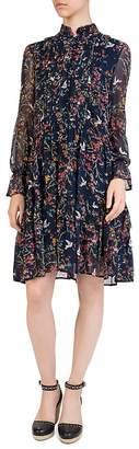 The Kooples Avian & Floral Print Silk Shift Dress