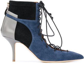 block panel lace-up boots
