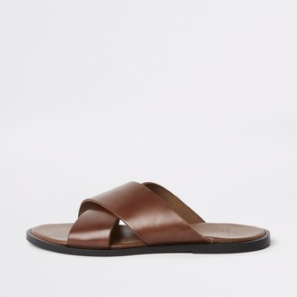 447f1c57f River Island Mens Tan leather cross over sandals
