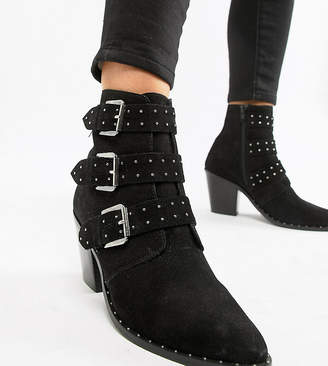 Asos Design DESIGN Wide Fit Region Suede Studded Ankle Boots
