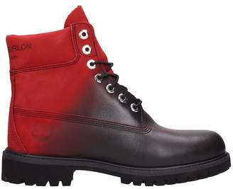 Marcelo Burlon County of Milan Black And Red Leather Ankle Boost In Collaboration With Timberland