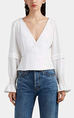 Area Women's Crystal-Embellished Crepe Blouse - White