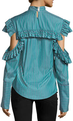 Neiman Marcus Maggie Marilyn Truth-Teller Split-Sleeve Striped Poplin Shirt