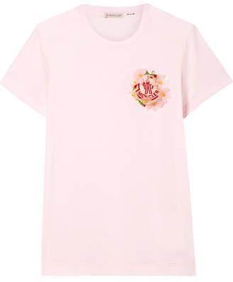 Simone Rocha Moncler Genius - 4 Embellished Cotton-jersey T-shirt - Pastel pink