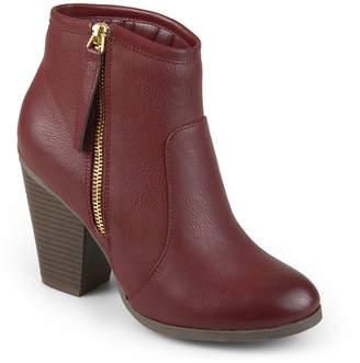 Journee Collection Womens Jolie Bootie Stacked Heel Zip