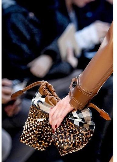Burberry Small Studded Leopard Print Ponyskin Bag