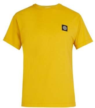 Stone Island Logo Patch Cotton T Shirt - Mens - Yellow