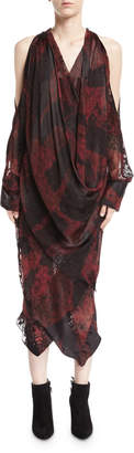 Neiman Marcus Urban Zen Devore Velvet Cold-Shoulder Draped Midi Dress