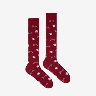 Bally Long Edelweiss Socks Red, Women's fine jersey socks in Red
