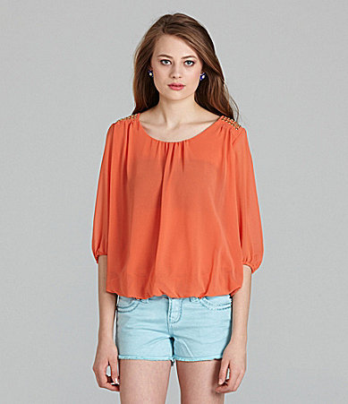 Patrons Of Peace 3/4-Sleeve Studded Blouse