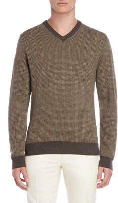 Luciano Barbera Tipped Check Wool Sweater