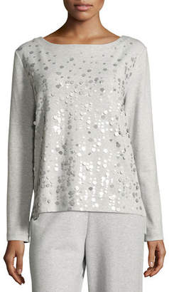 Joan Vass Luxe Cotton Interlock Sequin-Front Top