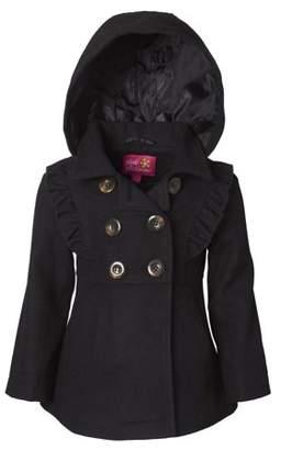 Pink Platinum Wool Blend Hooded Ruffles Jacket