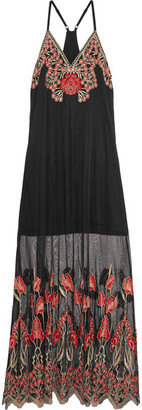 Alice + Olivia - Sally Embroidered Tulle Maxi Dress - Black $440 thestylecure.com