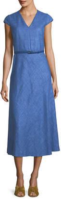 Max Mara Cap-Sleeve V-Neck Midi Dress