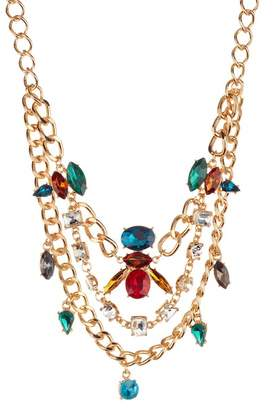 Free Press Crystal & Chain Statement Necklace