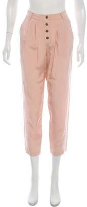 Tibi Silk High-Rise Pants