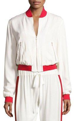 Alexis Trei Athletic-Stripe Bomber Jacket, White $495 thestylecure.com