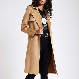 River Island Womens Brown faux suede trench coat