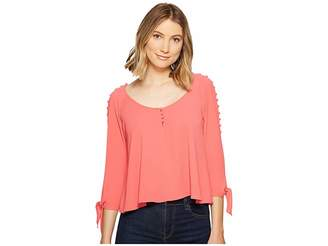 XOXO Button Up Cold Shoulder Top Women's Clothing