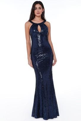 Goddiva Halter Maxi Fishtail Sequin Dress