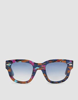 Acne Studios Square Frame Sunglasses in Blue/Orange Print