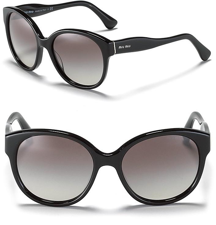 Miu Miu Round Wave Temple Sunglasses
