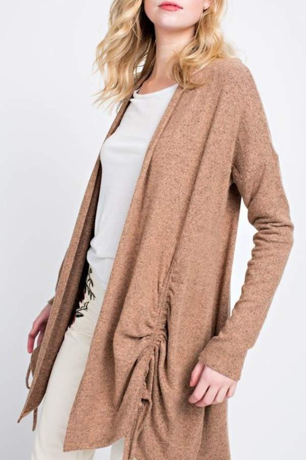 12pm by Mon Cinched Camel Cardigan