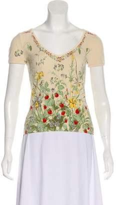 Blumarine Floral Print V-Neck Top