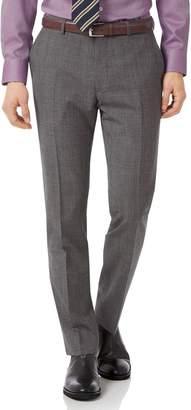 Charles Tyrwhitt Grey Slim Fit Jaspe Check Business Suit Wool Pants Size W30 L38