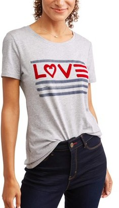 EV1 from Ellen DeGeneres Women's Love Flag Crew Neck Tee (Heather Grey)