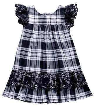 Youngland Little Girls' 4-6X Plaid and Ruffled Lace Dress